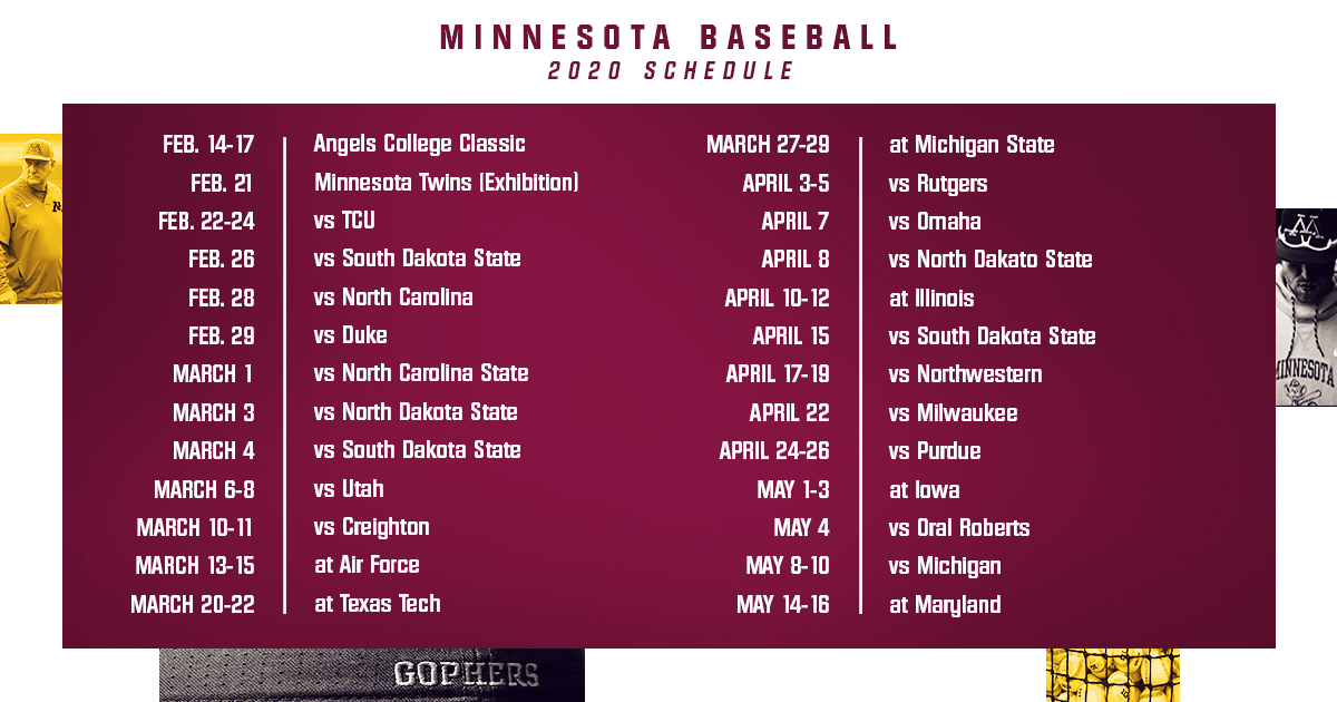 Baseball Announces Full 2020 Schedule University Of Minnesota Athletics